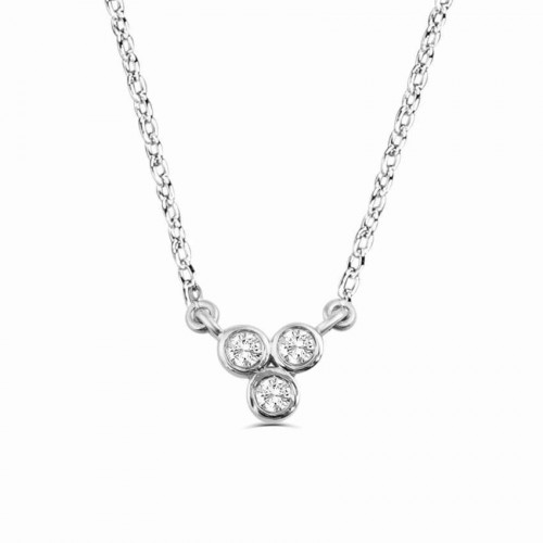 0.1Ct Trilogy Diamond Necklace Pendant for Women (6X6Mm)