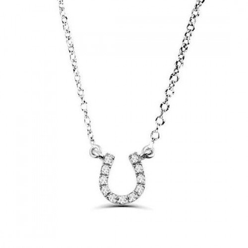 0.05Ct Horse Shoe Diamond Necklace Pendant for Women (7X7Mm)
