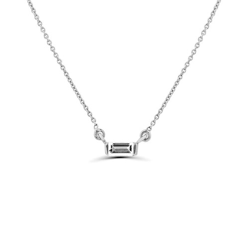 0.15Ct Baguette Diamond Solitaire Diamond Necklace Pendant (2.5X6Mm)