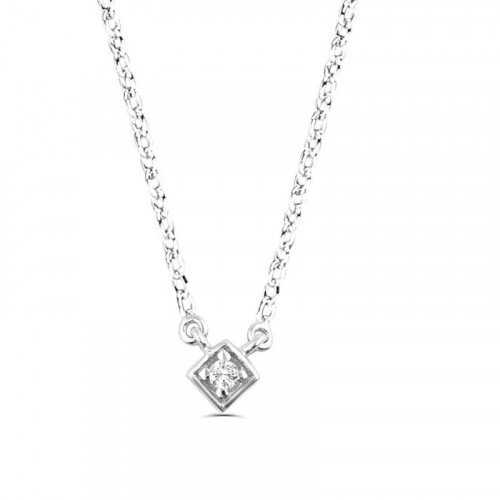 0.03Ct Diamond Solitaire Pendant Necklace for Women (5X5Mm)