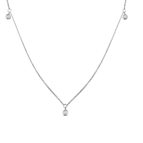 0.25Ct Station Diamond Necklace for Women (6X6Mm)