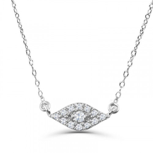 0.15Ct Evil Eye Diamond Necklace Pendant for Women (20X20Mm)