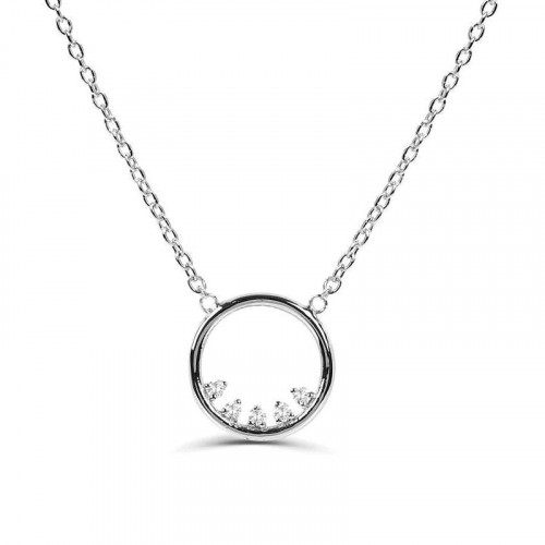 0.07Ct Circle Diamond Necklace Pendant for Women (12X12Mm)