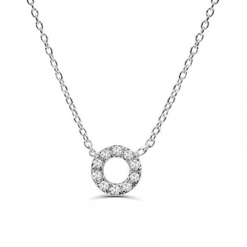 0.1Ct Circle Diamond Necklace Pendant for Women (7X7Mm)