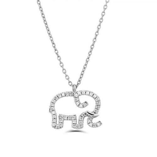 0.2Ct Elephant Shape Diamond Necklace Pendant for Women (12X12Mm)