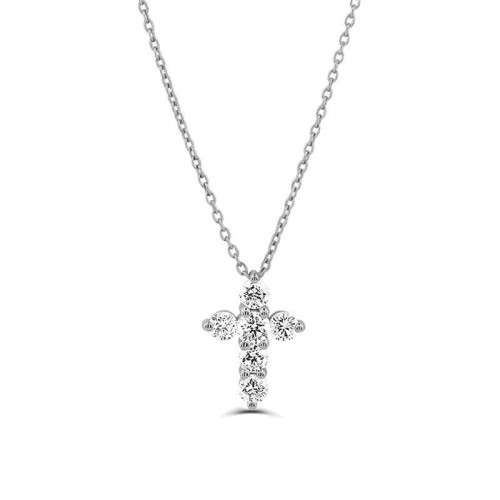 0.1Ct Cross Diamond Necklace Pendant for Women (10.75X8Mm)