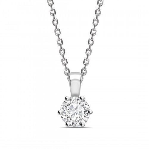 Flower Style Setting Round Shape Solitaire Diamond Necklace