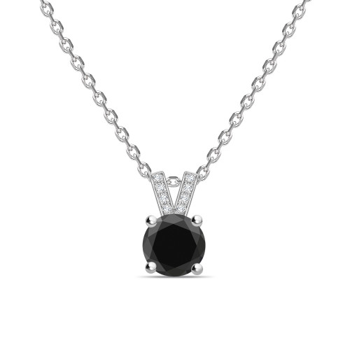 Round Cut Diamond Set Black Diamond Solitaire Pendants Necklace