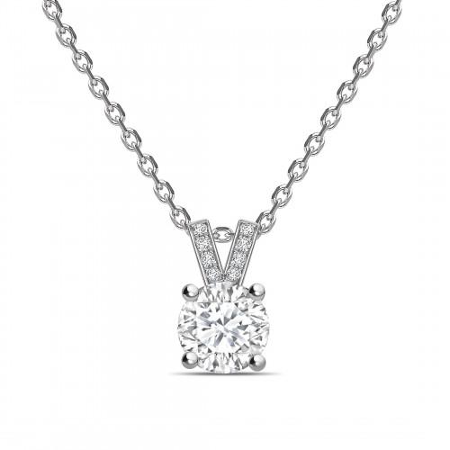 Diamond Set V Shape Bale Round Shape Solitaire Diamond Necklace