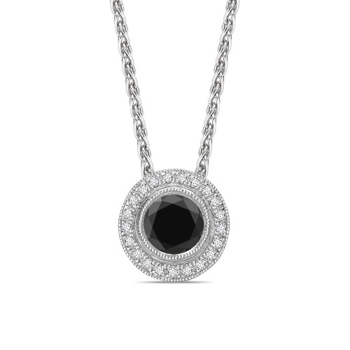 Round Cut Vintage Style Black Diamond Solitaire Pendants Necklace