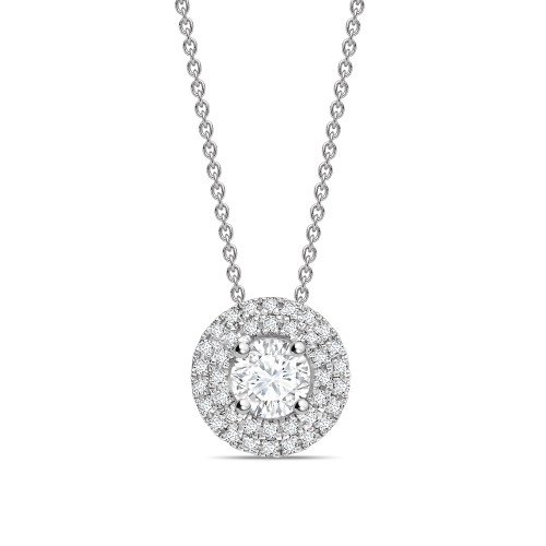 Double Raw Round Shape Halo Diamond Necklace Pendant