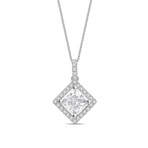 N-W-E-S Dangling Princess Shape Halo Diamond Pendant Necklace