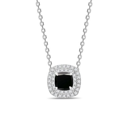 Halo Style Pricess Shape Black Diamond Solitaire Pendants Necklace
