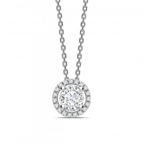 Classic Sliding Round Shape Halo Diamond Pendant Necklace
