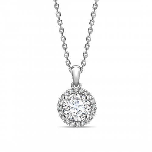 Classic Dangling Round Shape Halo Diamond Necklace