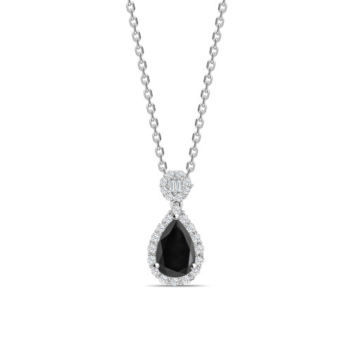Pear Cut Unique Desing Black Daimond Solitaire Pendants Necklace