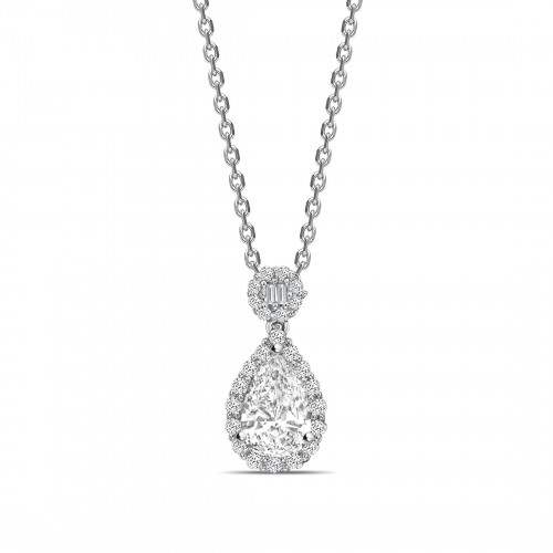 Unique Design Pear Shape Halo Diamond Necklace
