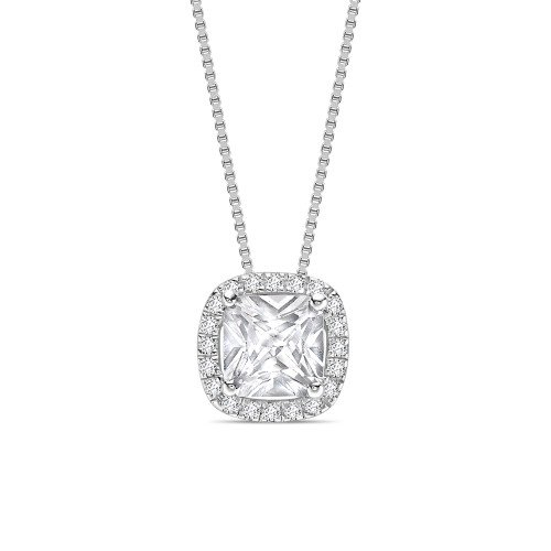 Sliding Style Princess Shape Halo Diamond Pendant Necklace