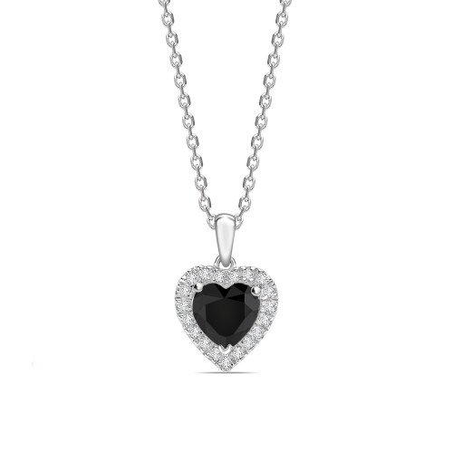 Halo Style Heart Shape Black Diamond Solitaire Pendants Necklace