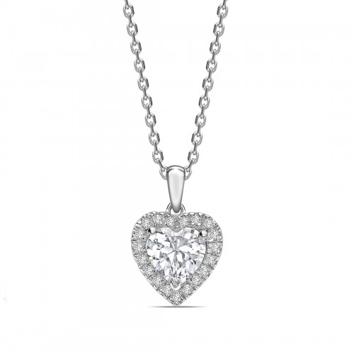 Dangling Halo Heart Shape Halo Diamond Necklace