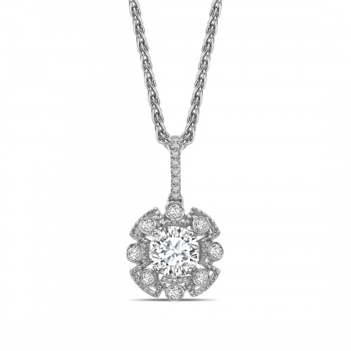 Vintage Style Round Shape Halo Diamond Necklace