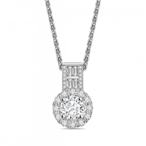 Baguette Set Bale Round Shape Halo Diamond Necklace