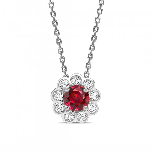 Bezel Set Halo Round Shape Halo Diamond Pendant Necklace