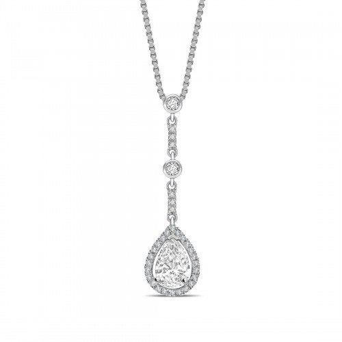 Designer Style  Pear Shape Halo Diamond Pendant