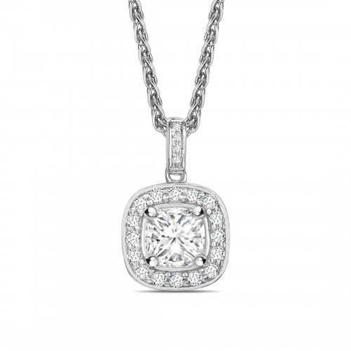 Pave Set Princess Shape Halo Diamond Necklace