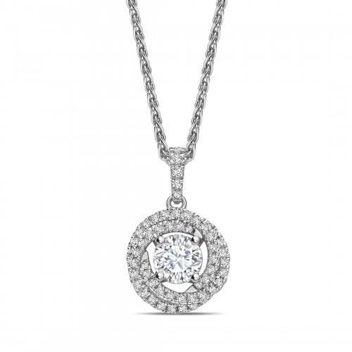 Swirling Style Round Shape Halo Diamond Pendant