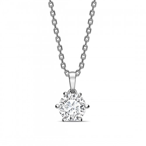 Crown Style Setting Dangling Round Shape Solitaire Diamond Necklace