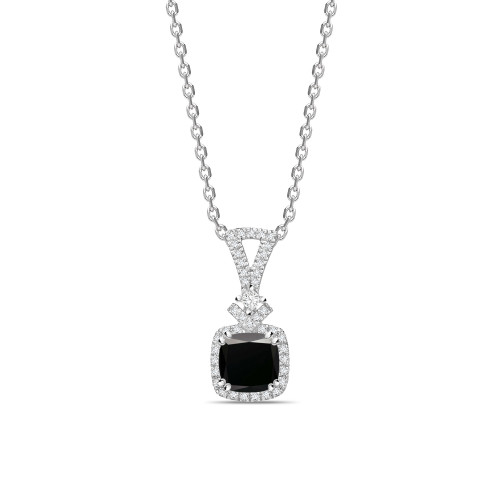 Modern Design Princess Cut Black Diamond Solitaire Pendants Necklace