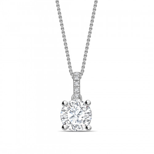 Diamond Set Bale Dangling Round Shape Solitaire Diamond Necklace