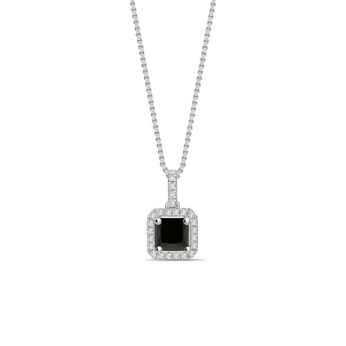 Classic Solitaire Princess Cut Black Diamond Solitaire Pendants Necklace