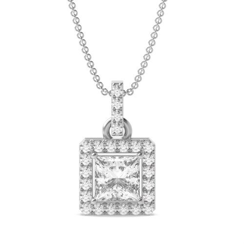 Classic Dangling Princess Shape Halo Diamond Pendant Necklace