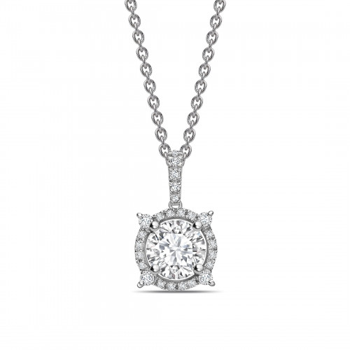 Designer Halo Round Shape Halo Diamond Necklace