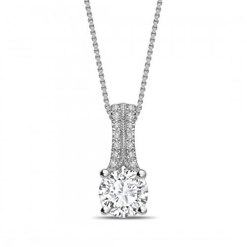 Two Diamond Set Bale Round Shape Solitaire Diamond Necklace