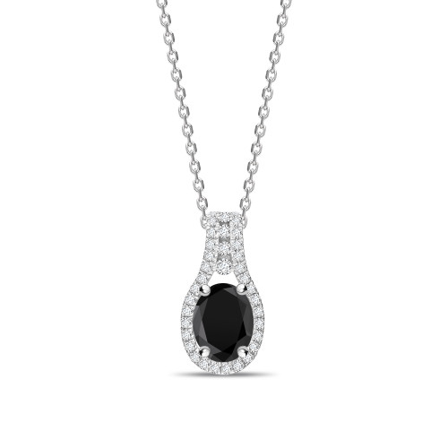 Halo Design Oval Cut Black Diamond Solitaire Pendants Necklace
