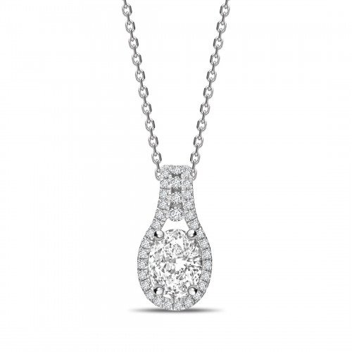 Designer Halo Oval Shape Halo Diamond Necklace