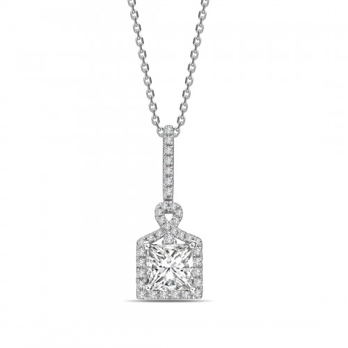 Unique Design Princess Shape Halo Diamond Necklace