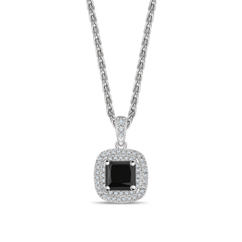 Double Row Setting Princess Cut Black Diamond Solitaire Pendants Necklace