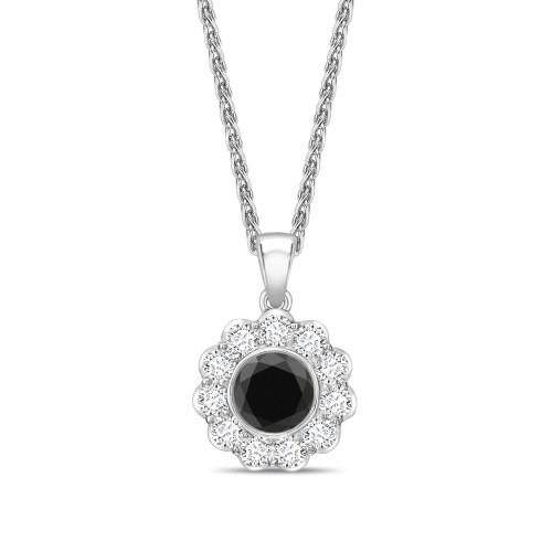 Round Cut Black Diamond Solitaire Pendants Necklace in Flower Style