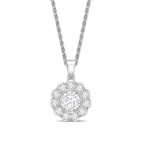 Flower Style Round Shape Solitaire Diamond Necklace