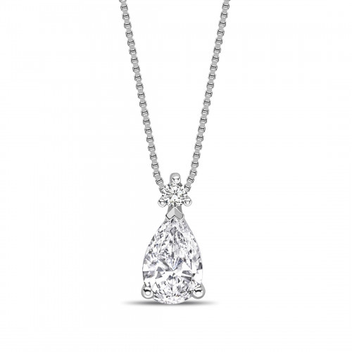 Modern Design Pear Shape Solitaire Diamond Necklace