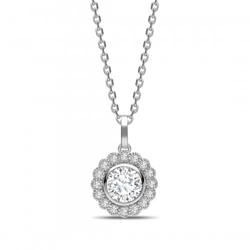 Miligrain Vintage Style Round Shape Halo Diamond Necklace