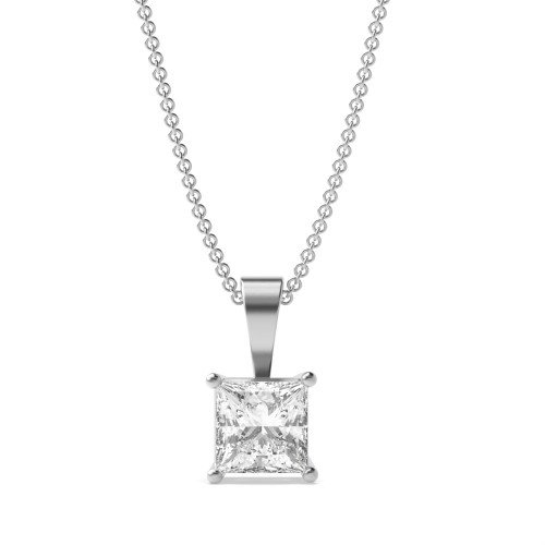 Classic Popular Style Princess Shape Solitaire Diamond Necklace