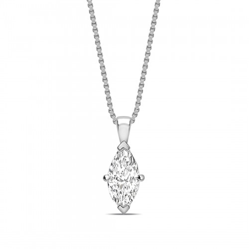 Classic Popular Style Marquise Shape Solitaire Diamond Necklace