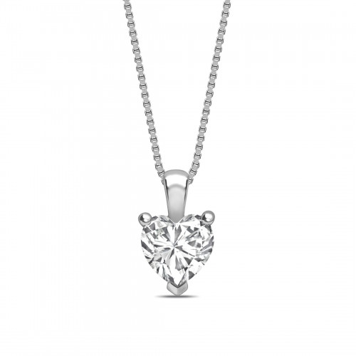 Classic Popular Style Heart Shape Solitaire Diamond Necklace