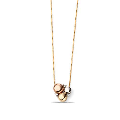Three Colour Gold Circle Diamond Pendants (10mm X 10mm)