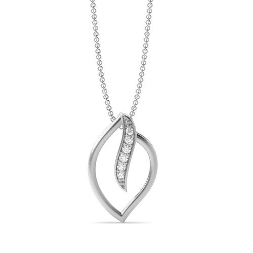Delicate Leaf Diamond Pendant (13 mm X 8mm)